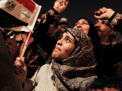 Celebrating at the news of Hosni Mubarak's resignation, Egypt